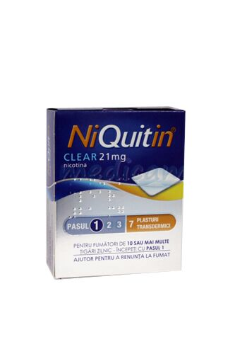 Niquitin Clear Patch 21mg Plasturi, Plasturi, 7buc