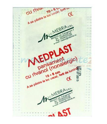Medplast Pansament Cu Rivanol 10cm x 6cm, Pansament, 1buc