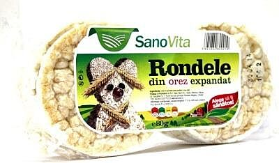 Sano Vita Rondele Simple Din Orez Expandat, Rondele, 80gr