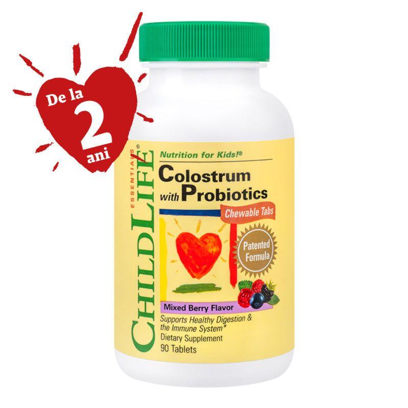 Secom Colostrum Plus Probiotics Cu Gust de Fructe Tablete Masticabile, Tablete, 90buc